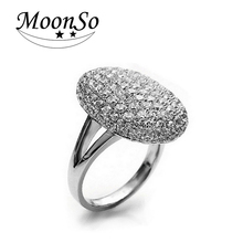 Moonso Silver Plated  Wedding Engagement Rings for Women O anel brand wholesale Hot Sale 88 CZ Diamonds T0103 anillos