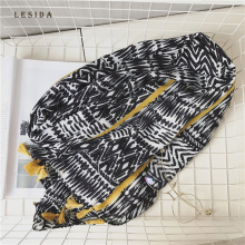 [LESIDA] Women Cotton Scarf Pashmina Shawl Leopard Print Shawl Large Black Tassel Stoles Beach Towel Wraps Sjaal 180*100CM 3079