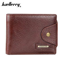 2016 Brand Men Design Short Small Wallets Male Vintage PU Leather Black Brown With Coin Pocket Card Holder Wallet Purse Carteras