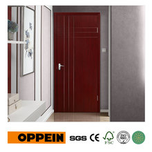 OPPEIN Brown Vertical Stripes PVC Interior Hinged Door P611(China)
