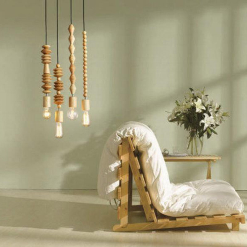 modern pendant light Retro style nature Oak wooden geometric beads pendant lamp string droplight hanging Light Fixture<br>