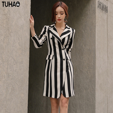 TUHAO 2017 New Winter Autumn Office Lady Women Dresses Stripped Notched Sheath Knee-Length Elegant Female Clothing ST20(China)