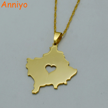Anniyo Heart Kosovo Map Necklace Gold Color Jewelry Kosoves Pendant Jewellery #003121(China)