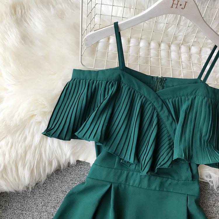 2019 Spring Women Chiffon Pleated Braces Sling Spaghetti Strap Goffer Long Dress Ladies Ruffles Empire Drapped Swing Slip Dress 150