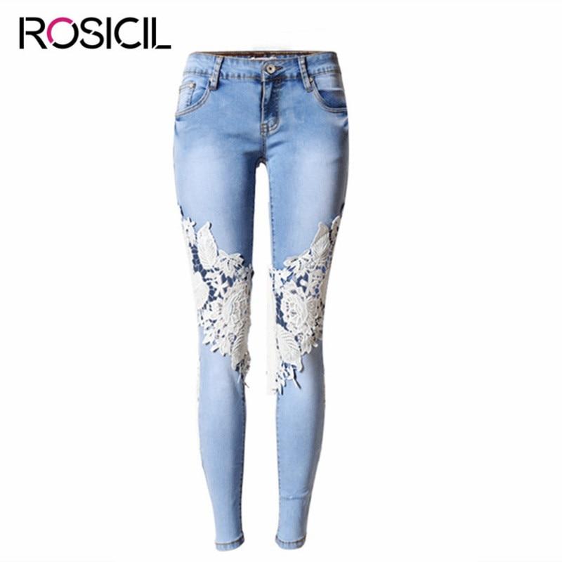 Womens Super Elastic Lace LvKong Denim Trousers Fashion Comfortable Feet Pants Ripped Jeans For Women Low Waist Pencil PantsÎäåæäà è àêñåññóàðû<br><br>