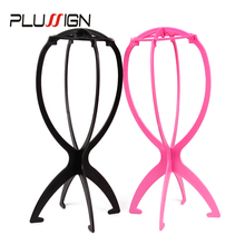 Plussign Wig Stand Black White Pink 2Pcs Wig Hair Hats Holder For Styling Drying Display Portable Folding Plastic Wig Head Stand(China)
