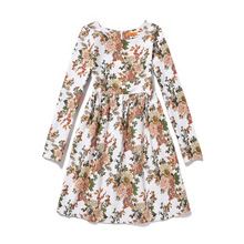 Flower Girls Dress White Floral Print Casual Long Sleeve Dresses Princess Teenage Girls Frocks European American Style GD98D