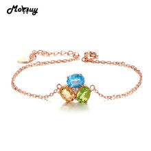 MoBuy MBHI022 3pcs Oval Gemstone Topaz Peridot Citrine Chain Bracelet & Bangle 925 Sterling Silver Rose Gold Plated Fine Jewelry