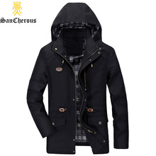 2017 4 Colors New Arrival Cotton Casual Hooded Spring Men Jackets Hood Detachable Autumn Men Jacket Plus Size M-5XL