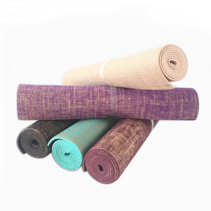 Hot Linen Premium Yoga Mats Thickness Natural Jute PVC Tasteless Non-slip Yoga Mat Exercise Pad 173cm x 61cm x 6mm Free Shipping<br>