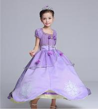HOT New Luxuriant Noble Baby Girls Kids Clothes Purple Sofia Princess Party Fashion Beautiful Fancy Dresses children Costume(China)