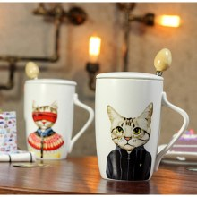 Innovative Cartoon Drinkware Cup Home Office Gift Cups Cute Cat Ceramic Cup With Lid +Stainless Steel Spoon Coffee Milk Tea Cups(China)