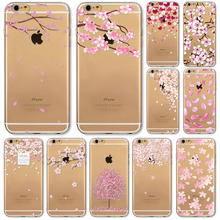 For iPhone 6 6s 5 5s SE Pink Sakura Print Flora Flower Phone Cases Soft TPU Clear Slim Back Covers Phone shell 2016