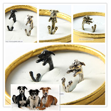 Free shipping newest wholesale retro Italy Greyhound Ring free size hippie animal Greyhound dog Ring jewelry for pet lovers