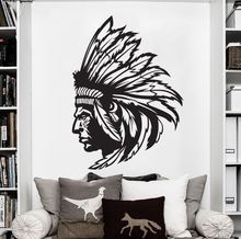 Redskin Native American Indian Chief Wall Decal Sticker Decor Wall Art Vinyl Waterproof wallpaper removable home decor D185