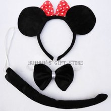 Free shipping Animal Minnie mouse ear headband set hairband bow tie tail children birthday party gift