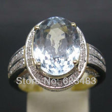 7.42CT SOLID 14K Yellow GOLD NATURAL AQUAMARINE . ENGAGEMENT RING