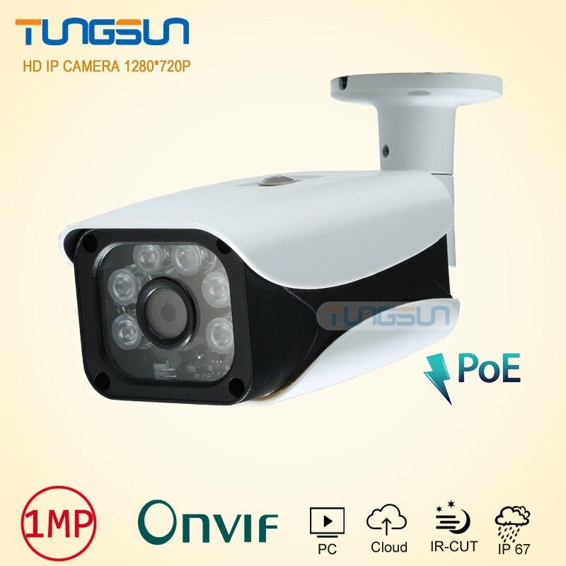 New 48V POE IP Camera720P Security Home CCTV IR 6  Array LED Bullet Metal Waterproof Outdoor Onvif Network Surveillance Camera<br>