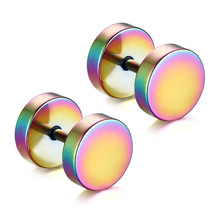 YYW 1Pair Punk Double Sided Round Titanium Steel Earrings Men Women Blue Gold-color Fake Ear Plugs Gothic Barbell Stud Earring(China)