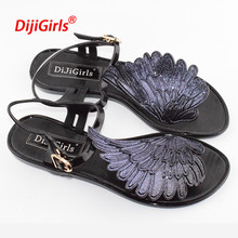 2017 summer fashion Jelly sandals women shoes female fashion flat flip wings personalized flip flops sandals Gladiator Shoes