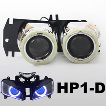 KT Headlight Fits for Honda CBR1000RR 2004-2007 LED Angel Eyes Blue Demon Eyes Motorcycle HID Bi-xenon Projector Lens 2005 2006