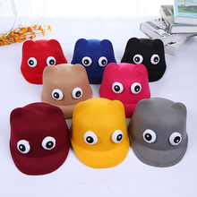 2017 New Baby Creative Cartoon Big Eyes Woolen Visors Hat Children Cute Colorful Peaked Cap Warm Kid Equestrian Cap for 3-9years(China)
