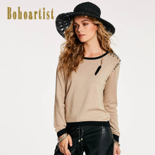 Buy Bohoartist Pullover Women Knitwear Autumn O Neck Diamond Beading Decorative Long Sleeve Clothing Female Elegant Knitwear Blouse for $14.27 in AliExpress store