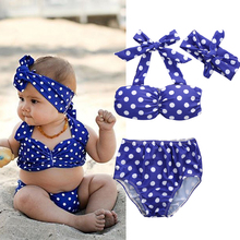 3pcs Infant Baby Girls Swimwear Set Summer Dot Printed Sunsuit  Baby Kids Beach Swimsuit Clothes Blue for 0-3Y