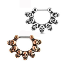 1 Piece Punk Skull Hoop Nose Ring Stud clicker Skulls Piercing Septum Clickers Nose Stud Rings Body Piercing Jewelry