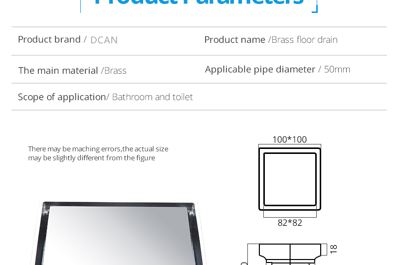 DCAN Brass Drains Drain Strainers Floor Linear Shower Floor Drains Bathroom Shower Drain Cover Kitchen Filter Strainer Drainer (19)