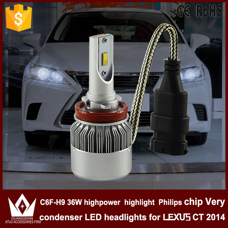 Guang Dian car led light h9 Headlight Head lamp  h9  HIGH BEAM Dipped beam C6F 6000K white for  LEXUS CT 2014 only<br><br>Aliexpress