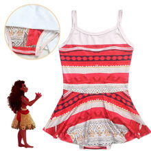 2017 Fashion Moana Cartoon dress Kids girl Bikini Swimsuit shirt Moana cosplay costume 3-10 Year Swimwear Summer Beach