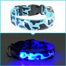 Camouflage flexible length 35-60cm LED lamp dog collar with 7 colors strip light style flash light led dog leash for pet dog/cat