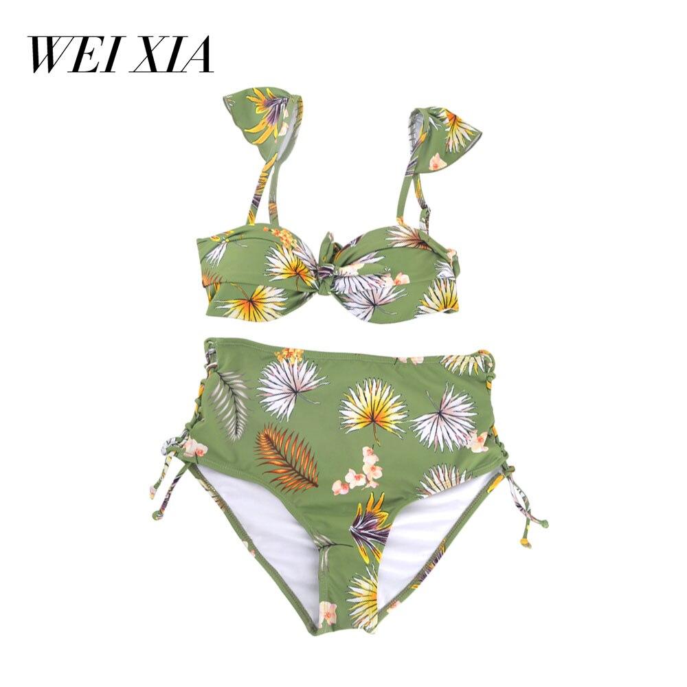 WEIXIA 2018 New arrivial Sexy High Waist Bikini Swimwear QF001 Push Up Swimsuit Biquini Beach Wear Women<br>