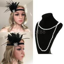 1920s Crystal Black Feather Flapper Great Gatsby Headband Women Lady Vintage Long White Pearls Necklace Fancy Dress Accessories