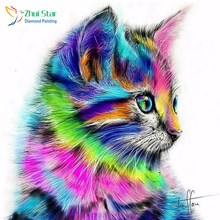 Colorful Cat New 100% Regional Highlights Diamond Needle Diamond Diamond 3D Diamond Embroidered Embroidered Cat(China)