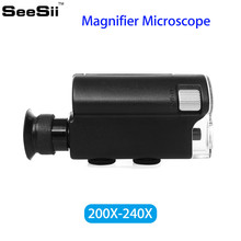 SEESII Mini Jeweler 200X-240X LED UV Light Pocket Microscope Jewelry Watch Repair Magnifier Lens Loupe Handheld