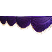 1M Curtain Valance Swag Head European Style Tassel Solid Color Reception Window Background Wedding Party Home Hotel Decoration(China)
