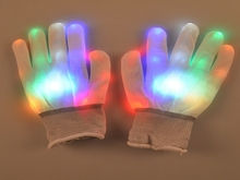 20pairs/lot Coloful LED Glove Rave light led finger light gloves light up glove For Party favor White gloves(China)