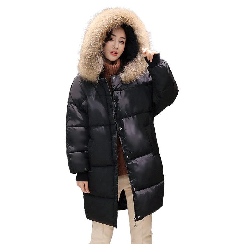 Quilted Jacket Women Winter Parkas Loose Big Size Womens Cotton Padded Coat Hooded Fur Collar Ladies Snow Jackets 2017 NewÎäåæäà è àêñåññóàðû<br><br>