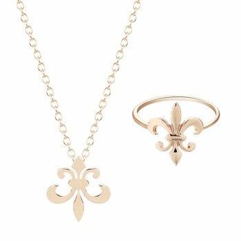 Kinitial Fleur De Lis Ring Solid Gold Silver Plated Fleur De Lis Necklace Pendant Royal Gift Plain Fashion Jewelry Ring Sets