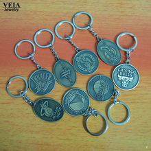 2017 New League teams logo Metal keychains Basketball Association Keychain Heat Lakers Warriors basketball souvenirs car Keyring(China)