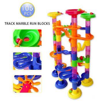 Taotowns 105pcs DIY Construction Marble Race Run Maze Balls Track plastic house Building Blocks toys for christmas 2016 Hot<br><br>Aliexpress