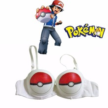 Pokemon GO Poke Ball Printed Bra Pocket Monster Ash Ketchum Anime Underwear Pokemon Cosplay Costume Pokemon Bra 75B Clearance