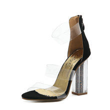 Women Gladiator Sandals Crystal Clear Transparent PVC Sandals Square Heel Stiletto Fashion Sexy High Heels Wedding Sandals Shoes