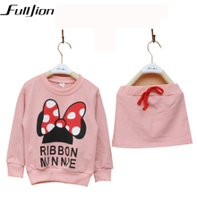 Cute Toddler Girl Clothing Sets Kids 2016 Spring Chidren Minnie Clothes Cartoon T shirt Skirt 2pcs set Tracksuits Hoodies +Pants(China)