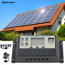 Dpower 10A 12V 24V Solar Panels Battery Charge Controller 10Amps Lamp Regulator Suitable for Small Solar Energy System Hot Sale