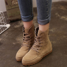 Snow boots 2018 classic heels suede women winter boots warm fur plush Insole ankle boots women shoes hot lace-up shoes woman#40B
