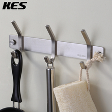 KES Bathroom Towel Rail/Rack with 1-7 Scroll Hooks Wall Mount SUS304 Stainless Steel, BRUSHED FINISH