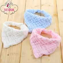 XCQGH Baby Bandana Bibs Solid Color Gauze Towel Blue Pink White Baby Boy Girl Bib Infant Toddler Saliva Towel Burp Cloth